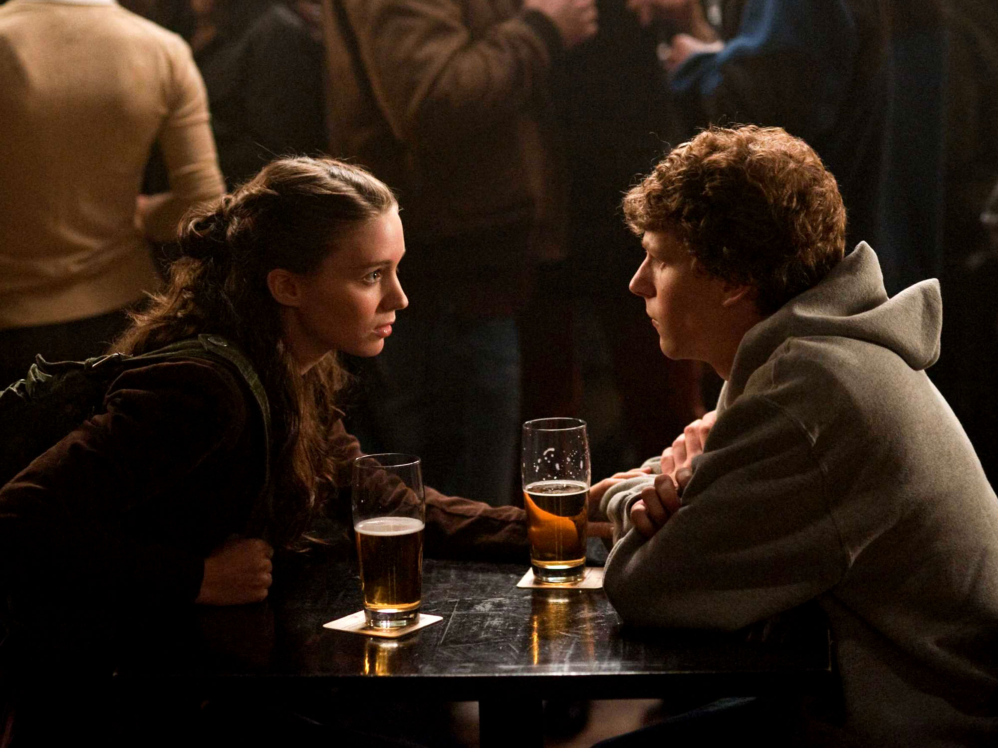Jesse Eisenberg and Rooney Mara in The Social Network