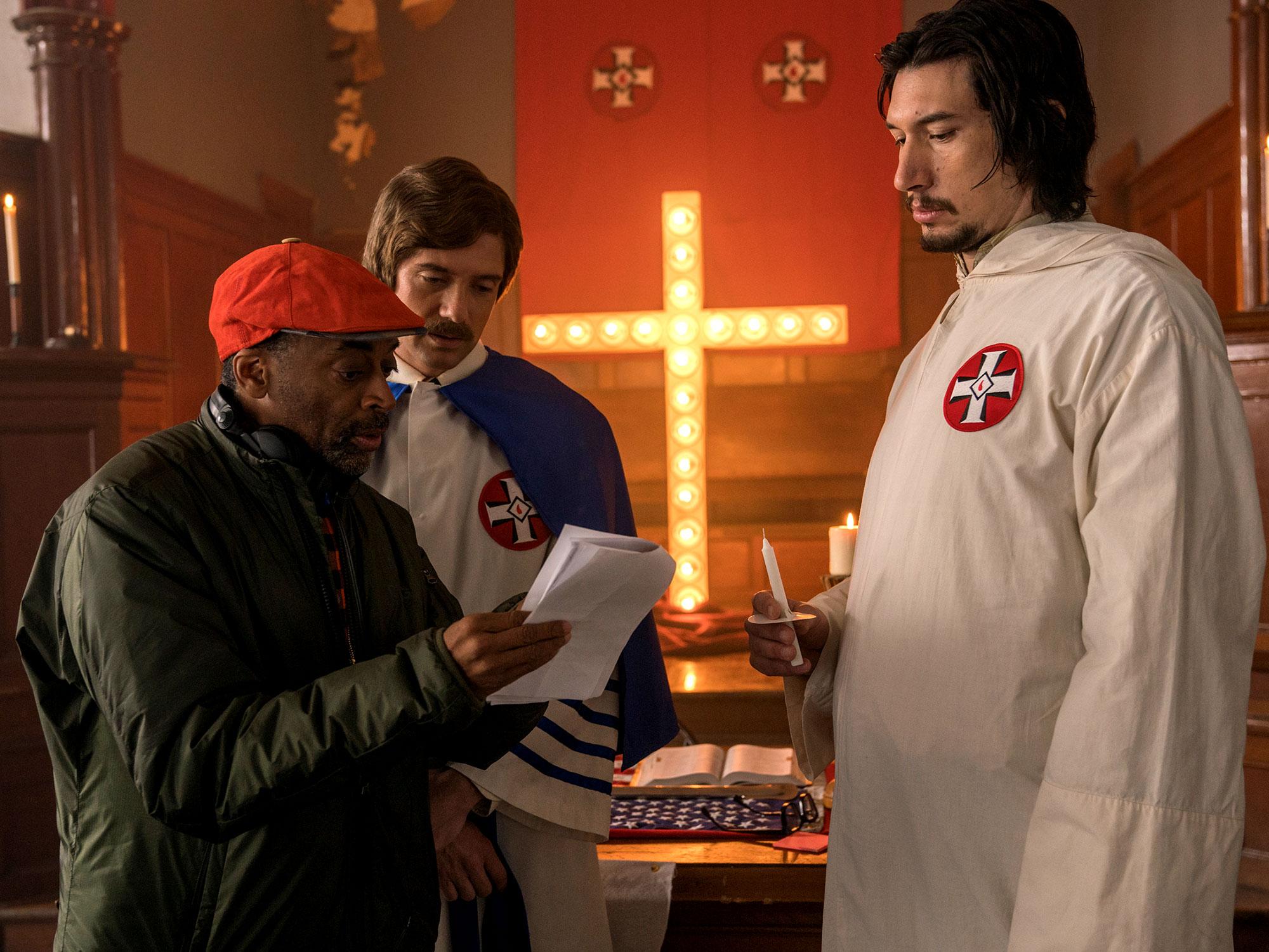 Spike Lee, Adam Driver on the set of BlacKkKlansman (2018)