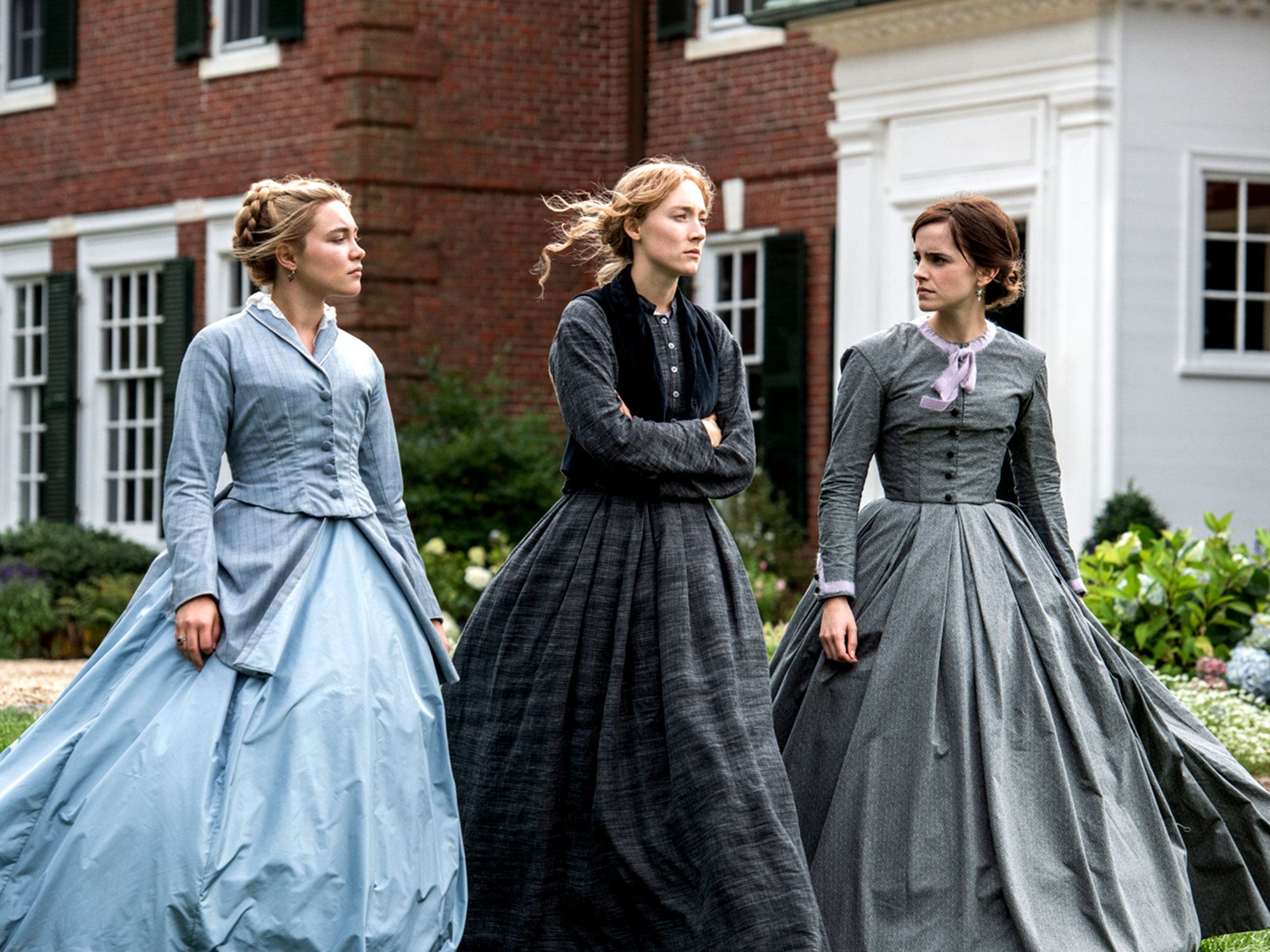 Saorise Ronan, Florence Pugh and Emma Watson in Little Women (2019)