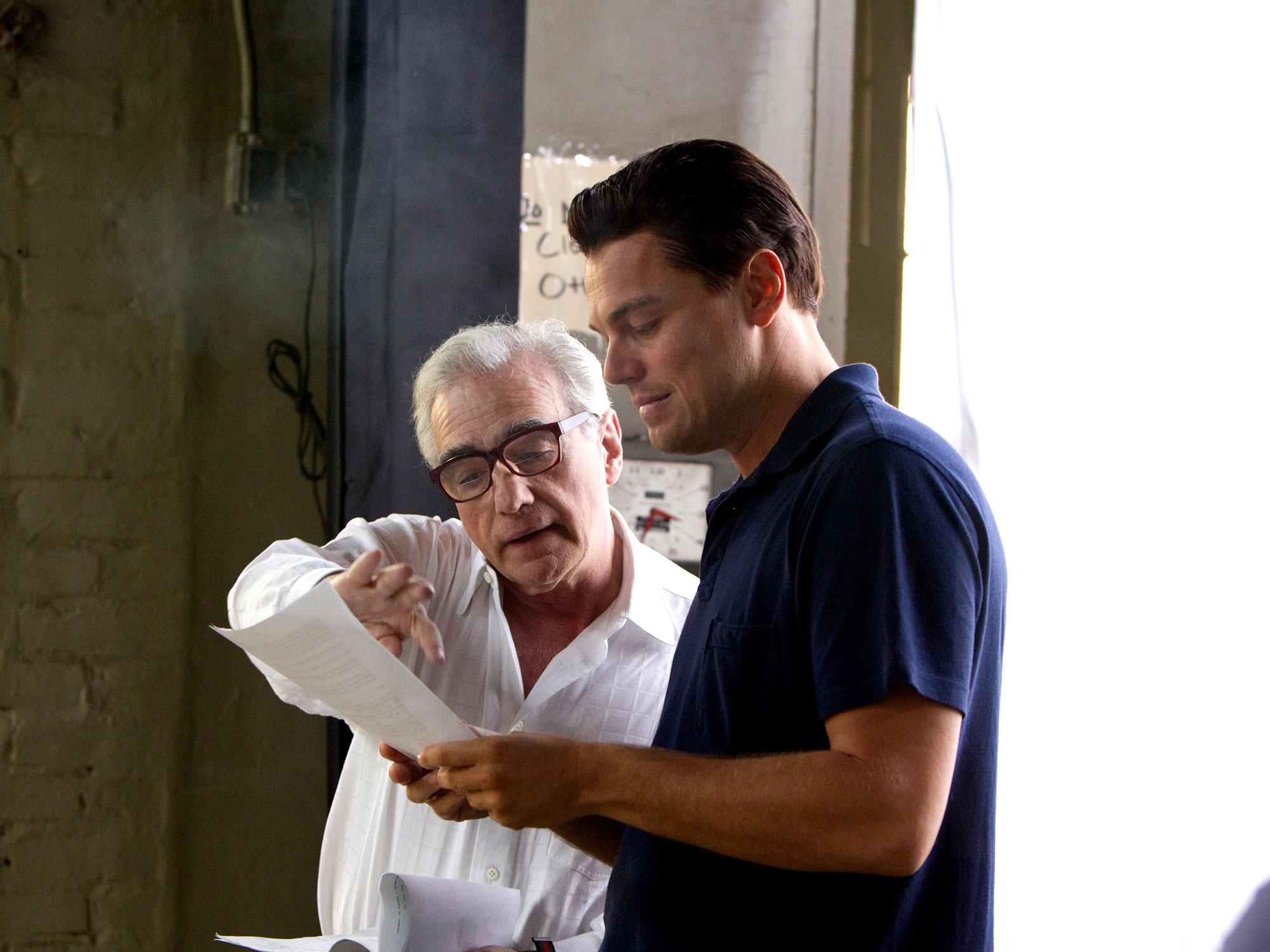 Martin Scorsese on set with Leonardo DiCaprio