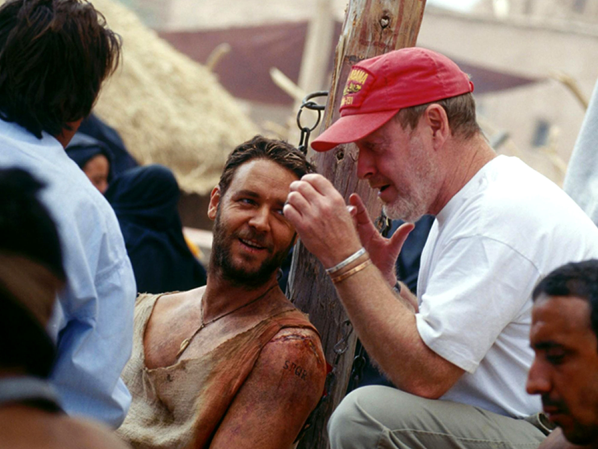 Russell Crowe and Ridley Scott on the set of Gladiator (2000)
