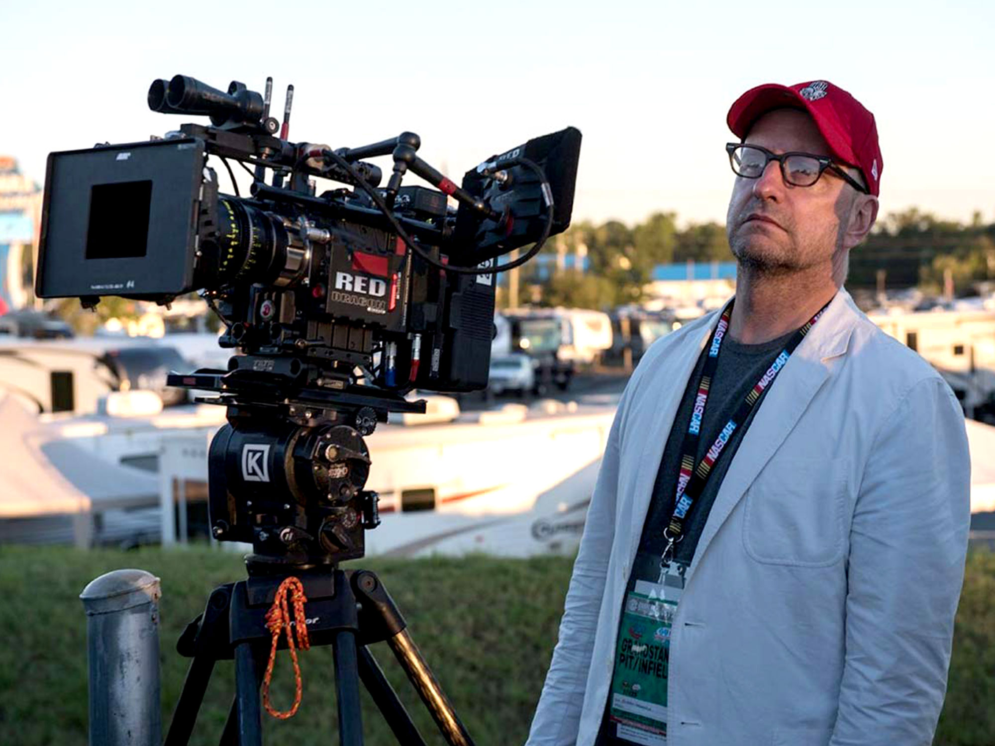 Steven Soderbergh on set